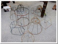 rusty wire lamp shade frames to use for outdoor chandelier. wire with moss and tilandsia rusty wire Outdoor Chandelier, Diy Chandelier, Chandelier Makeover, Iron Chandeliers, Lamp Shade Frame, Crochet Lamp, Frames For Sale, Tiffany Lamps, Bedroom Lamps