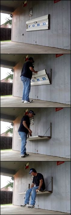 How To Build A Tailgate Wall Bench http://theownerbuildernetwork.co/wnrh Having just purchased a home. My wife and I decided the entire house belonged to her except for the garage and back porch and the yard. She may have made a mistake! A friend gave me this old Ford tailgate after I told him I was decorating my back porch in vintage Gas station/ feed store style. I decided to make a working bench out of it while also using it for decoration. This is how I did it!