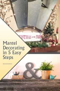 If decorating a mantel or long shelf has you stumped -- start here! These 5 easy steps will have you on your way to a beautifully decorated mantel, using your favorite decor (not just what looks good in a magazine or on someone else's mantel) #spon