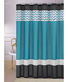 Teal Sequin Luna Shower Curtain | Something special every day