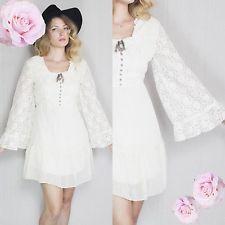 Vtg 60s/70s Cream Sheer Lace Bell Kimono Boho Hippie Gypsy Baby-Doll Mini Dress