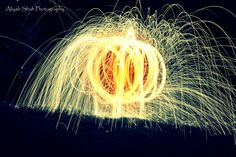 Spinning fire steel wool photography