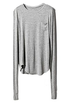 ROMWE   Pocketed Sheer Gray T-shirt, The Latest Street Fashion