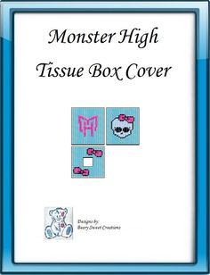 Monster High Plastic Canvas Tissue Box by BearySweetCreations, $3.00