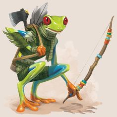 e926 ambiguous_gender amphibian anthro armor arrow axe bow_(weapon) clothed clothing dungeons_&_dragons frog fully_clothed grippli holding_object holding_weapon melee_weapon official_art pants pathfinder quiver ranged_weapon red_eyes scarf simple_background solo tracking unknown_artist weapon zooif