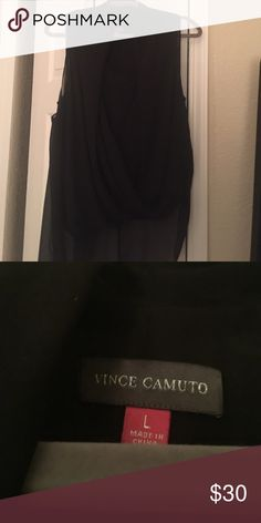 Unique Blouse! Cute blouse, hi-low cut, from Macy's, never worn, size L. Vince Camuto Tops Blouses
