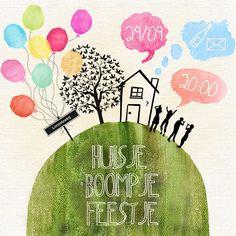 My housewarming invitation: Huisje boompje feestje! :)