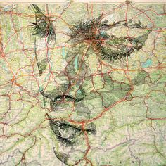 Ed Fairburn.   Ink on a 1977 road map of Germany.      Website