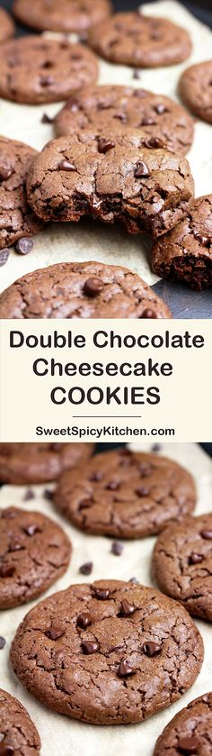 Double Chocolate Cheesecake Cookies - crunchy on the outside and soft inside with melted chocolate chips and cream cheese - OMG that sounds great!