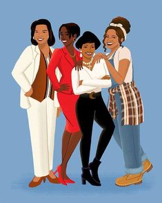 """In a 90s kind of world, I'm glad I've got my girls!"" This is an illustration of Khadijah James (Queen Latifah), Maxine Shaw (Erika Alexander), Regine Hunter (Kim Fields), and Synclaire James (Kim Coles) from the 90s sitcom Living Single. Art gives me life Facebook Page"