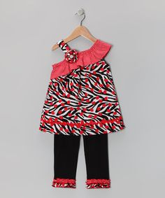 Take a look at this Red Zebra Tunic & Black Leggings - Infant, Toddler & Girls by Youngland on #zulily today!