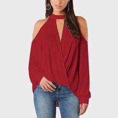aea07dd82e48cb USA Women Choker V Neck Casual Loose Long Sleeve Cold Shoulder Blouse Shirt  Tops