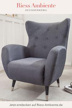 Egal ob im Wohnzimmer oder im Schlafzimmer: Ein bequemer Sessel ist eine vielseitig einsetzbare Sitzgelegenheit, die jedem Wohnraum eine gemütliche und individuelle Note verleiht. Unser Ohrensessel DON vereint klassisches Design mit einem unübertroffenen Sitzkomfort dank verbauter Federkernpolsterung in der Sitzfläche. Der Bezug aus Flachgewebe ist zudem sehr langlebig und wirkt besonders modern. Retro Look, Elegant, Note, Modern, Design, Bedroom, Living Room, Seating Areas, Don't Care