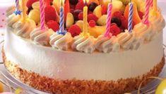 Verjaardagstaart met brésilienne en vers fruit