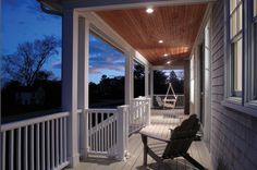 Recessed outdoor canned lighting recessed porch lighting design recessed lighting on front porch contrast tongue and groove ceiling adk chairs swing swoon broderick building and remodeling aloadofball Image collections