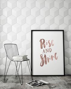 Rise And Shine Motivational Inspirational Inspo Fitspo Handlettered Calligraphy Faux Rose Gold Quote Poster Prints Printable Wall Decor Art