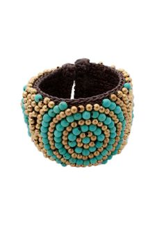 Gold & Turquoise Beaded Cuff.
