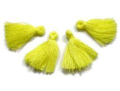 Mini Tassels 5 Pieces Tiny Vibrant Yellow Yellow by FoxyBeadsCo