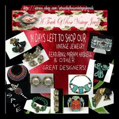 Lots of items on Sale.  ALL Miriam Haskell on Sale through November 30th.  To view all of my sale items please go to:  http://stores.ebay.com/A-Touch-of-Rose-Vintage-Jewels/_i.html?rt=nc_SaleItems=1&_sid=96656418&_trksid=p4634.c0.m309