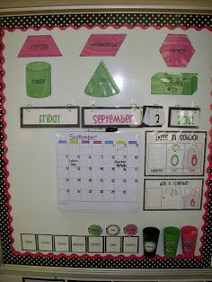 Calendar Wall... Love the pink with polka dots!