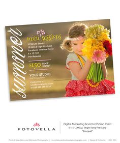 Summer Mini Session  Digital Marketing Board Template by FOTOVELLA // Featuring an image courtesy of Munchkins & Mohawks