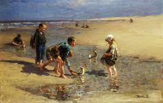 Children playing on the beach - Bernardus Johannes Blommers Dutch Painter (1845-1914)