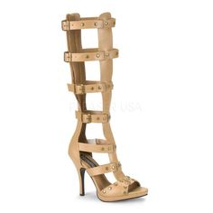 The features for these gladiator heels include a faux leather upper in a caged strappy design, side buckle accents, open toe, studded detailing, full back zipper closure, smooth lining, and cushioned footbed. Approximately 4 1/2 inch heels