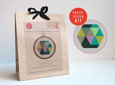 Geometric cross stitch kit modern hexagon by FoxYouAreSoCrafty
