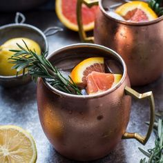 Thirsty Thursday: Rosemary Citrus Moscow Mule - One Sweet Mess Blood Orange Soda, Rosemary Simple Syrup, Moscow Mule Recipe, Beer Recipes, Drink Recipes, Coffee Recipes, Citrus Juice, Copper Mugs, Thirsty Thursday
