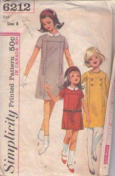 MOMSPatterns Vintage Sewing Patterns - Simplicity 6212 Vintage 60's Sewing Pattern BEST Girls Retro Mod Twiggy Yoked Hidden Front Pockets School Dress, Drop Waist Belt Carriers Size 8
