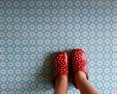 Rose des Vents Blue Vinyl Flooring. Retro Floor tiles for your home