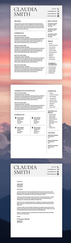 Modern Resume Template - Free Cover Letter - CV Template - MS Word - cover letter for resume template free