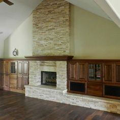 realstone systems latte ledgestone | Stone fireplace remodel with wood built ins
