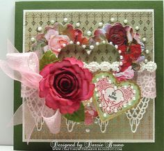 A Valentine's card using Spellbinders Spiral Blossom One, Classic and Scalloped heart dies. My stamps are from JustRite Stamps.