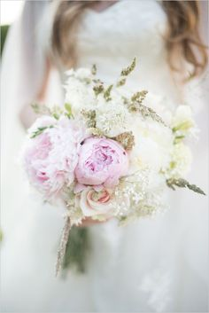 Pale pink and white bouquet with peonies. Floral Design: J Titley & Sons Ltd Wholesaler ---> http://www.weddingchicks.com/2014/05/15/create-a-darling-wedding-for-under-5k/