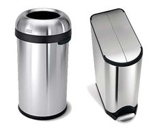 Stainless steel recycling bins and trash cans.