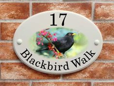 A collection of ceramic style house plaques with artistic pictures of wildlife, flowers, dog breeds & hobbies created by our own sign artistsThis range of ceramic style house signs feature over 70 different artistic pitorial designs which ha. House Plaques, House Names, English House, Ceramic Houses, Spring Blossom, Home Signs, Print Pictures, Beautiful Day, Blackbird