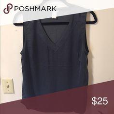 H&M sleeveless blouse V-neck, slate blue, sleeveless silk blouse. Only worn once H&M Tops Blouses
