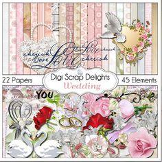 Wedding Digital Scrapbook Kit for Marriage, Romance, Bridal Shower Scrapbooking, Cards, Photographs, Instand Download