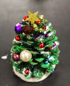 SmART Class- pine cone trees decorated with old jewelry