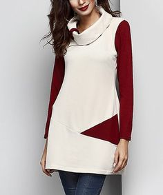 Another great find on #zulily! Cream Cowl Neck Contrast Sleeve Tunic #zulilyfinds