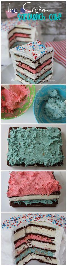 Red White & Blue Ice Cream Sandwich Cake