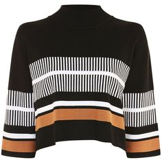 High Neck Striped Jumper by Native Youth (210 RON) ❤ liked on Polyvore featuring tops, sweaters, jumper, shirts, black, jumper tops, jumpers sweaters, stripe sweater, print top and high neckline tops