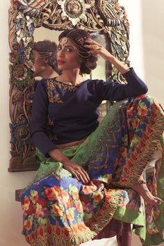Show details for Navy blue & green color indowestern lehenga choli