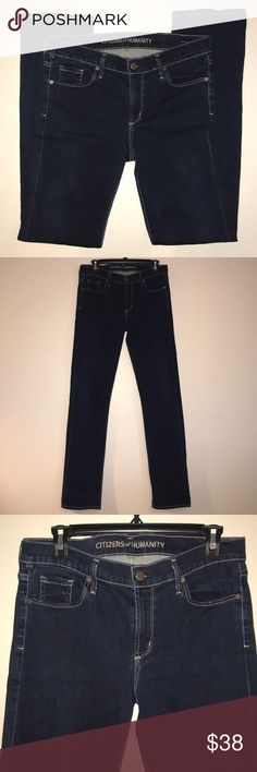 "Citizens of humanity dark indigo jeans Elson 32"" Citizens of humanity dark indigo jeans Elson 32"" straight leg.  Made in USA.  Excellent preowned condition.  No stains or holes, smoke free home.  Waist 15.5"", rise 9"", inseam 32"". Citizens Of Humanity Jeans Straight Leg"