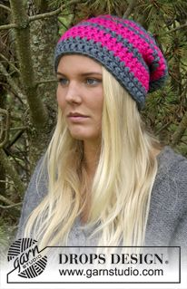 "Gorro en ganchillo DROPS con puntos altos, en ""Peak"". ~ DROPS Design"