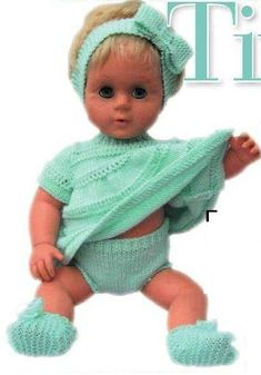 Digital knitting patterns to fit 16 tall Tiny Tears doll pattern consists of dress, panties, slippers and headband You will need weight) wool/yarn, pattern states ball is ample, knitting needles size and crochet hook for trim(optional) and snap Knitting Dolls Clothes, Baby Doll Clothes, Doll Clothes Patterns, Knitted Doll Patterns, Knitted Dolls, Baby Knitting Patterns, Crochet Patterns, Knit Doll Underwear, Tiny Tears Doll