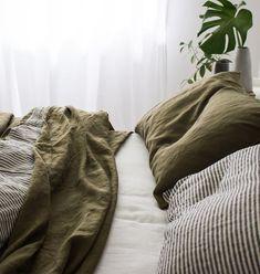 Olive bed linen.