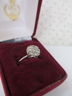 Vintage Diamond Cluster Ring 14k White by FergusonsFineJewelry, $450.00