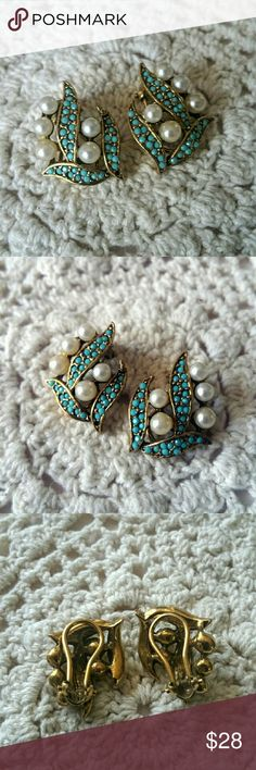 """Vtg. Turquoise Pearl Earrings Clasp These vintage gold-tone beauties were part of a set- there is a matching brooch, now missing a few of the tiny stones.  But these clasp earrings are still perfect! They measure a bit over 1"""" x a bit over 3/4"""". Vintage Jewelry Earrings"""